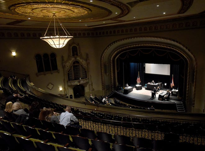 Judge David Branstool, Court officials, victim and defendant family members, and the potential jury pool were spaced out throughout the Midland Theatre in a courtroom set up in the historic downtown Newark theatre. The trial for Delaney Daniels, one of two arrested in the fatal shooting of Matthew Helman on Elmwood Avenue in August 2019, was moved across the street from the courthouse as a measure to prevent the spread of COVID-19.
