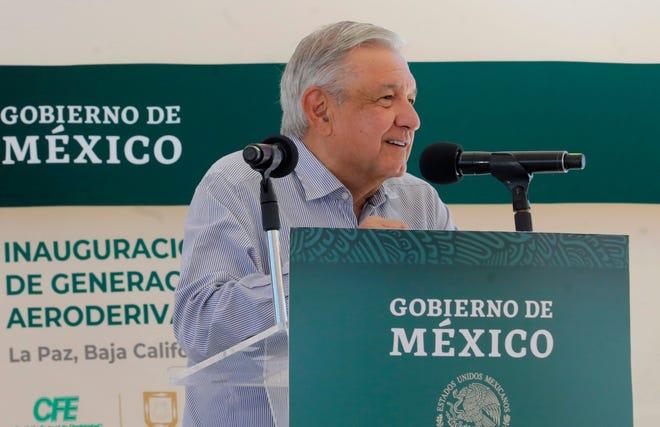 Andrés Manuel López Obrador, durante un acto protocolario en La Paz, Baja California Sur (México).