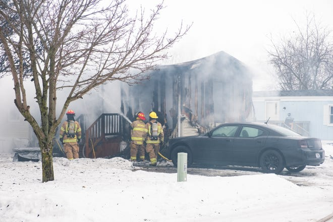 Crews responded to a fire in the 3800 block of Cherokee Drive in Burtchville Township Monday, Feb. 22, 2021.