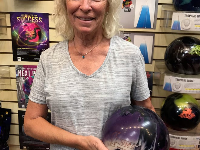 Cheryl Rogers rolled the highest game by a woman  bowler this season in Mesquite bowling with a 265 game that featured her throwing nine straight strikes.