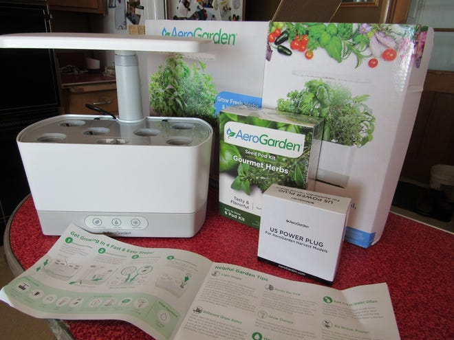 Susan's unpacked AeroGarden that arrived on her front porch courtesy of her son, Russell.