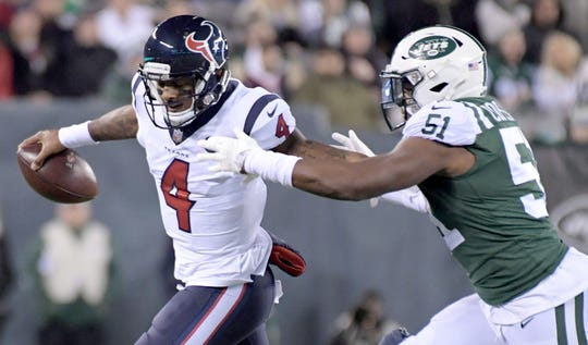 Texans QB Deshaun Watson (4) led Houston past the New York Jets two years ago.