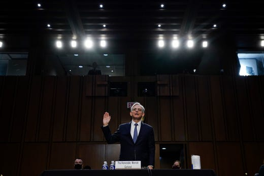 Attorney General nominee Merrick Garland is sworn-in during his confirmation hearing before the Senate Judiciary Committee in the Hart Senate Office Building on Feb. 22, 2021 in Washington, DC. Garland previously served at the Chief Judge for the U.S. Court of Appeals for the District of Columbia Circuit.
