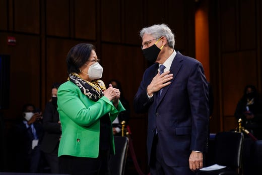 Sen. Mazie Hirono, D-Hi., talks to Judge Merrick Garland, nominee to be Attorney General, at his confirmation hearing before the Senate Judicary Committee, Monday, Feb. 22, 2021 on Capitol Hill in Washington.