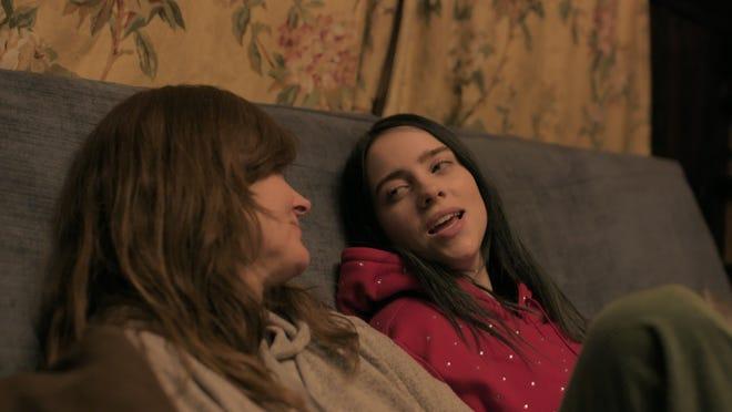 """Billie Eilish, right, talks to mom Maggie Baird in """"Billie Eilish: The World's a Little Blurry."""""""