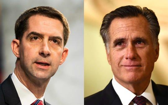 Senator Tom Cotton (R-AR), left, Senator Mitt Romney (R-UT)