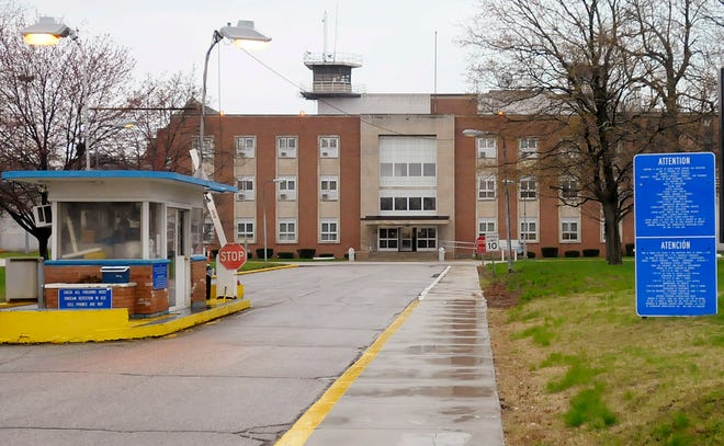 In this April 23, 2013, file photo, the Indiana State Prison stands in Michigan City, Ind. One correction officer is dead and a second is seriously injured after an alleged attack Sunday, Feb. 21, 2021, by a prison inmate, Indiana State Police said.