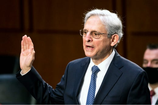Judge Merrick Garland, nominee to be Attorney General, is sworn in at his confirmation hearing before the Senate Judicary Committee, Feb. 22, 2021 on Capitol Hill in Washington.