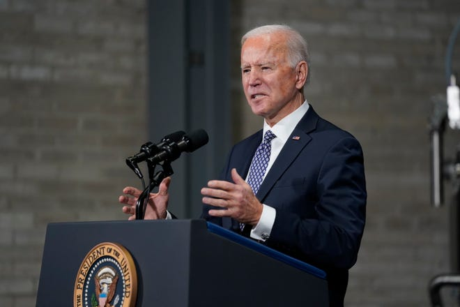 President Joe Biden speaks after a tour of a Pfizer manufacturing site, Friday, Feb. 19, 2021, in Portage, Michigan.