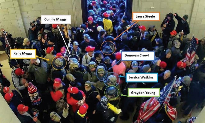 Members of the Oath Keepers crowded into the Capitol one Jan 6, 2021
