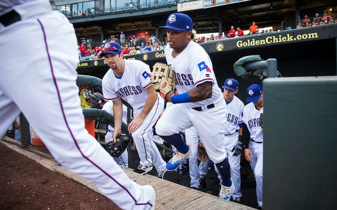 Former Round Rock Express and current Texas Rangers player Willie Calhoun takes the field before a 2017 game against El Paso at the Dell Diamond. The Express will start the 2021 season at home on April 8, competing in the Triple-A West League.