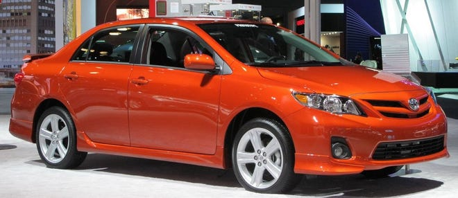 Pictured is an image of an orange 2013 Toyota Corolla, similar to the one that was stolen Saturday in Stow.