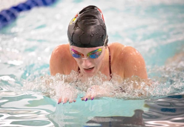 Loudonville's Madison Smith competes in the 100 butterfly during a meet earlier this season. Smith made state in two events.