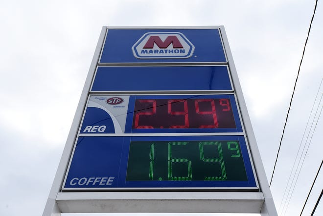 The price for a gallon of regular gas is $2.99 at the Marathon in Conway on Tuesday morning.
