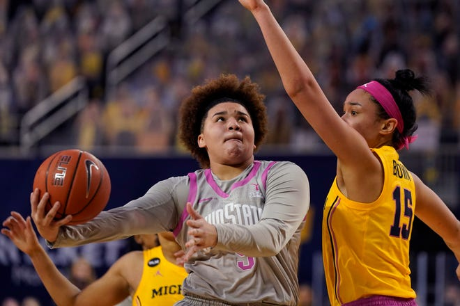 By averaging 11.5 points and 6.5 assists in two starts, Ohio State freshman Kateri Poole (5) has filled in nicely in relief of point guard Madison Greene, though the Buckeyes still miss Greene's floor presence.