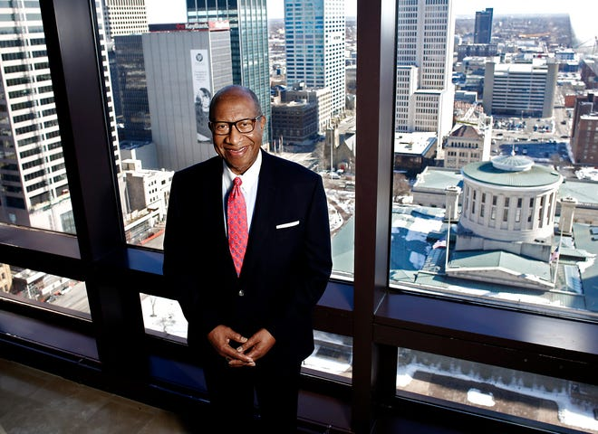 Local attorney Alex Shumate, on the 20th floor of the Huntington Center where he works.