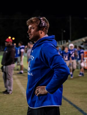 New Asheboro head coach Blake Brewer coaching the JV team against Eastern Guilford last year on October 10, 2019. PJ WARD-BROWN FOR THE COURIER-TRIBUNE