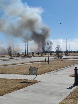 A fire blazed near Boot Hill Casino and Resort and United Wireless Arena on Tuesday. There were no injuries from the fire and damage is currently being assessed.