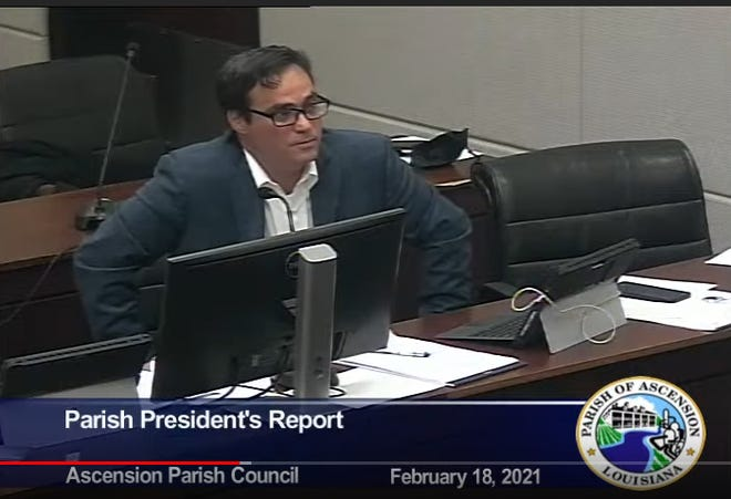 Ascension Parish Chief Administrative Officer John Diez addresses the council during the Feb 18 meeting.