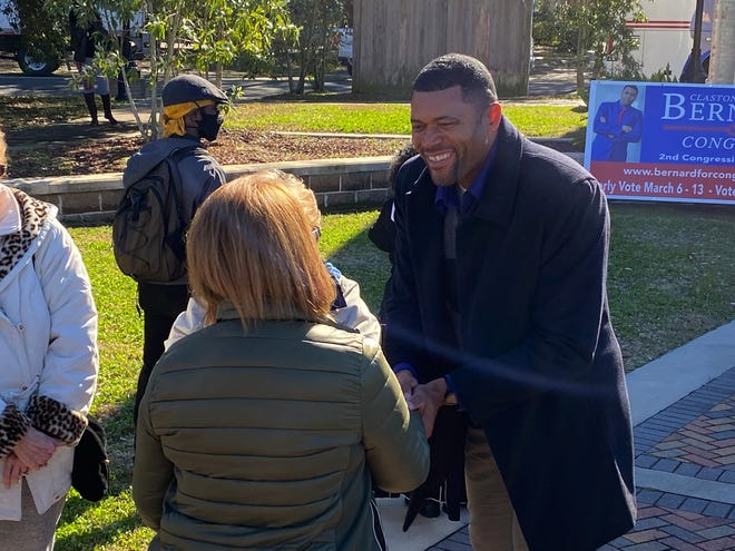 Claston Bernard greets attendees prior to speaking at Crescent Park in Donaldsonville Feb. 19.