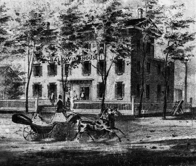 Brothers Henry and John Fleming were stabbed to death in the Baldwin House in 1856. The hotel stood at the corner of Broadway and North Second Street, on a site currently occupied by Security Savings Bank.