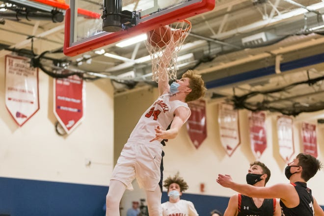 Hornell's Eli Dunn hammers down a dunk during Monday's game against Dansville.
