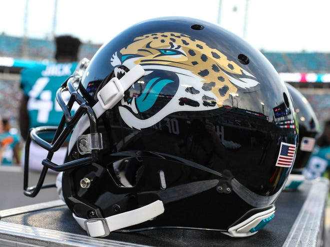 Jaguar helmet during the first quarter of an NFL preseason football game at TIAA Bank Field in Jacksonville, Fla., Saturday, Aug. 25, 2018. [For The Florida Times-Union/Gary Lloyd McCullough]