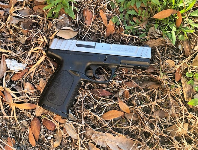 The Jacksonville Sheriff's Office says this is the stolen Smith & Wesson handgun recovered from Sunday's officer-involved shooting on Old Kings Road.