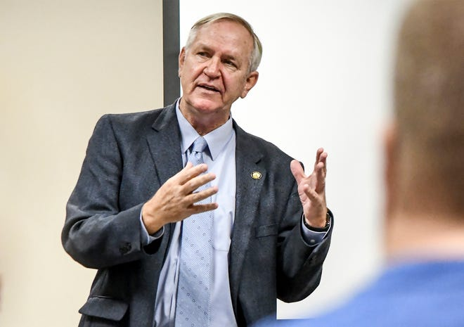 Sen. John Doll talks about the property tax relief issue in January 2020 during a Garden City Area Chamber of Commerce legislative coffee in a St. Catherine Hospital classroom.