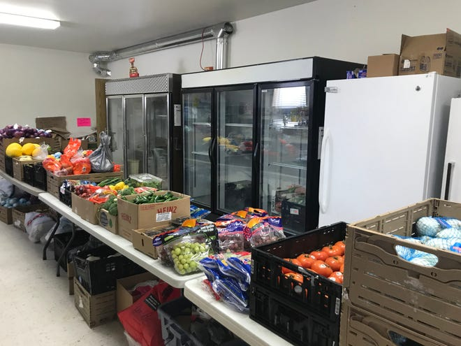 Produce is ready for distribution at the Galva First Baptist Church food pantry