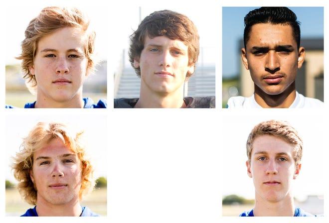 Top row: Gunter's Kaden Rigsby, Whitewright's Kayden Carraway, Gunter's Martin Garcia. Bottom row: Gunter's Lane Dophied and Cole Lemons
