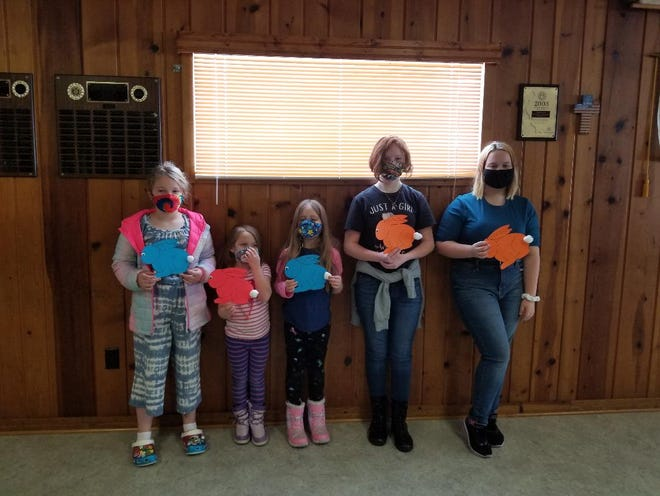 The Lena American Legion Auxiliary Junior members recently made Easter door decorations for the residents at Lena Living Center. Pictured, from left: Keighlyn Schulz, Kairi Schulz, Kinzley Schulz, Evie Karnatz and Paris Katzenberger.