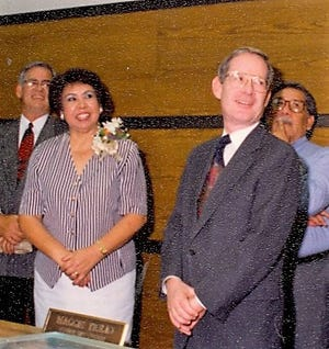 Maggie Trejo, first Hispanic member of the Lubbock City Council and Mayor Alan Henry.