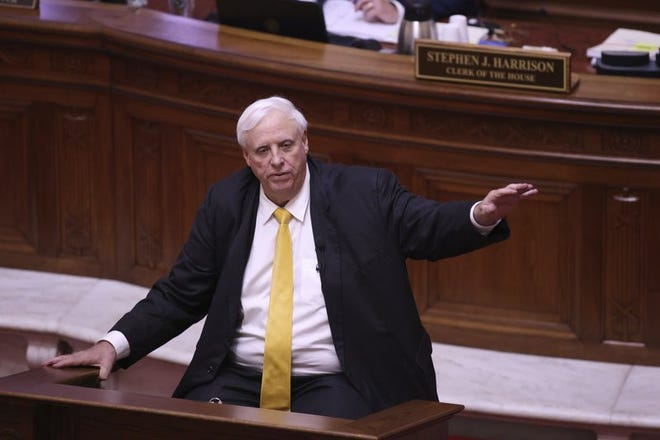 West Virginia Governor Jim Justice speaks during the State of the State Address in the House Chambers of the West Virginia State Capitol Building in Charleston, W.Va., on Wednesday, Feb. 10, 2021.