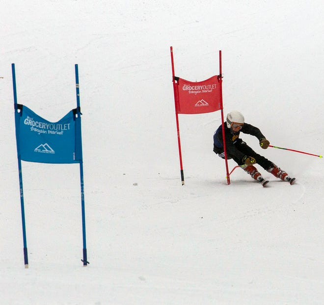 Mount Shasta High School's Brice Harkness during a Alpine race event at Mt. Shasta Ski Park in February, 2021.