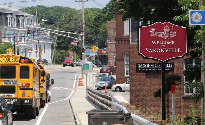 """New """"Welcome to Saxonville"""" signs were installed in 2018."""