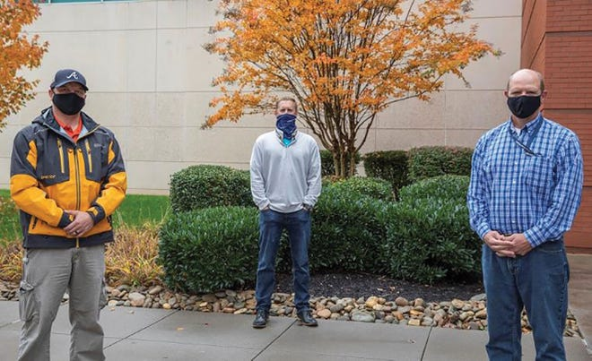 Heroes don't always wear capes, but they do wear face coverings. These three Y12ers jumped into action to help a Kentucky man suffering from dementia. Pictured from left are Chris Griffis, Mark Butcher and Jack Bolinger.