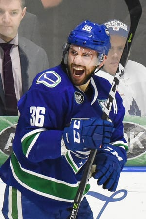 Wacey Hamilton celebrates a goal during the 2018 playoffs. Hamilton, who played six seasons with the Utica Comets, has retired.
