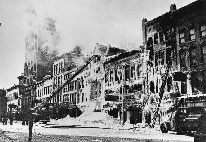 The night of Jan. 20, 1948 turned into an icy inferno in downtown Utica when flames roared through the Long Block – the west side of lower Genesee Street between Oriskany and Whitesboro streets. The spectacular, three-alarm blaze was fought in temperatures that dropped to 30 below zero. Seventeen firefighters were injured. Nine buildings housing 11 businesses were damaged. Damage was estimated at $400,000. Throughout the night, Dr. James Douglas and Dr. William B. Falvo were on the scene to attend to casualties.
