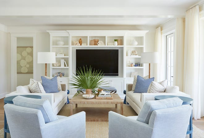 'I had a great client,' Margaret Kaywell, principal and head designer of Kaywell Interiors, said about Ken and Amy Viellieu  'She wanted pale blues. So we just ran the color scheme throughout the house.'