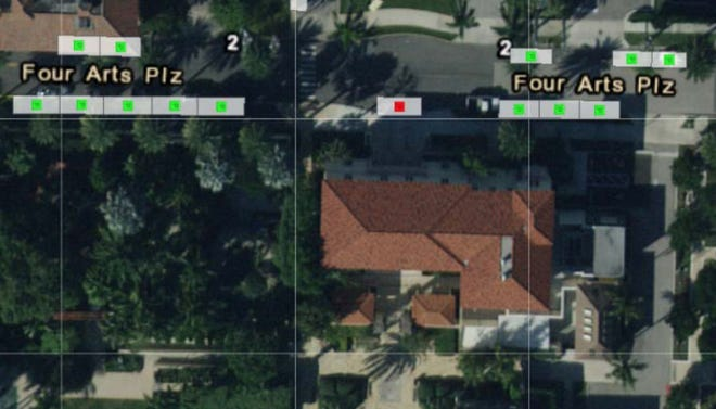 This Google Maps photo shows the 13 free on-street parking located on the west and east sides of the Four Arts Plaza. (Courtesy: Town of Palm Beach)