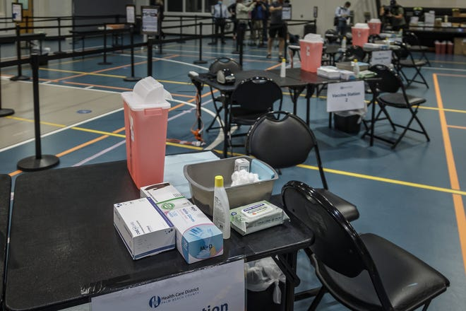 A new COVID-19 vaccination site is set up at the Burns Road Community Center in Palm Beach Gardens, Fla., on Tuesday, February 23, 2021. The COVID-19 vaccination site is an appointment-only, walkup facility that will initially serve people older than 65.