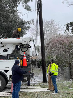 City of Plaquemine work crews stayed busy around the clock for much of the week after ice and record cold temperatures led to power outages, water leaks and collapsed trees.