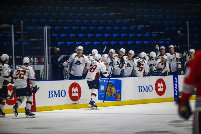 Cleveland celebrated a lot during Monday's win over Rockford, including in this case after captain Zac Dalpe scored the first two goals of the game within 11 seconds of each other.