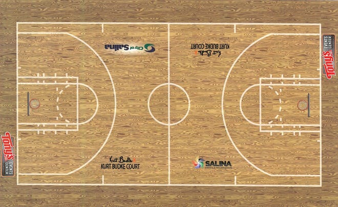 A rendering of the new portable court that will be bought for Tony's Pizza Events Center. The court was approved to be purchased by the Salina City Commission Monday.