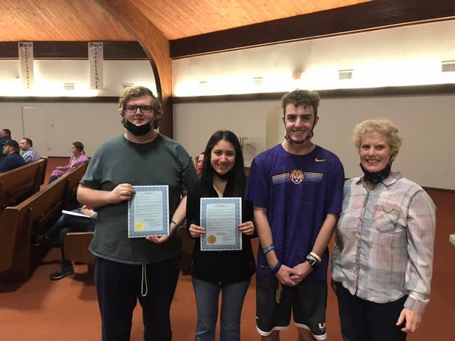Joshua Collins, Leslie Ann Romero and Dylan Jones were recently named Academic All-State for the Texas State Athletic Trainers' Association. Here they are pictured with Stephenville High School head athletic trainer Wendy Svoboda.