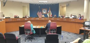 Manatee County commissioners during a public meeting on Feb. 23, 2021.