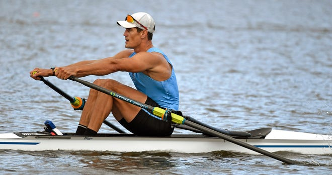 Travis Taaffe, 24, a former Sarasota Crew member who rowed in college at Harvard, placed third during a men's single scull heat during the U.S. Olympic Rowing Trials at Nathan Benderson Park in Sarasota on Tuesday.