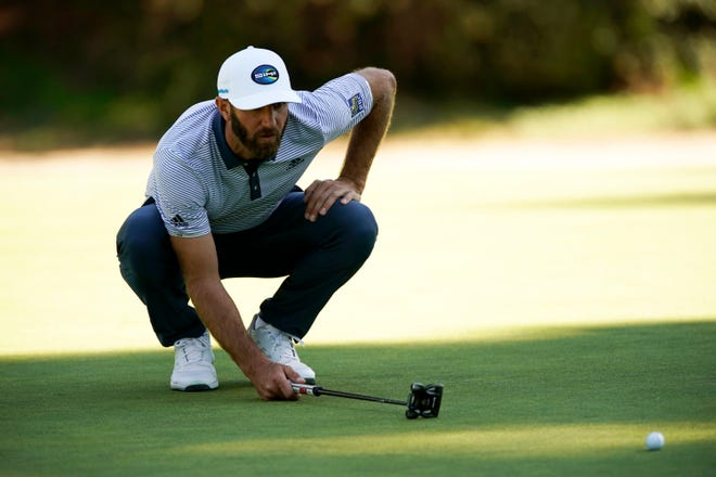 Dustin Johnson, shown here lining up a putt on the 13th hole during the final round of the Genesis Invitational at Riviera Country Club, is the only player to have won all four of the World Golf Championships. Johnson will be among the 72 players teeing it up Thursday at The Concession GC in Bradenton for first-round play in the World Golf Championships-Workday Championship.