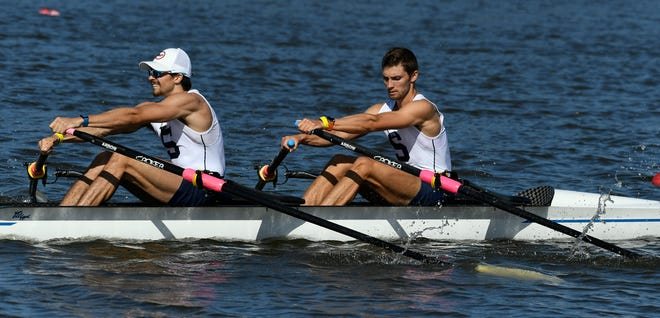 Sarasota former Crew members Harrison Schofield and Kory Rogers took third place in their heat of the men's lightweight double in a time of 7:31.49 during the U.S. Olympic Rowing Trials at Nathan Benderson Park in Sarasota on Tuesday.